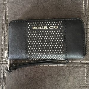 Black Saffiano Leather Micro Stud Wallet